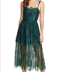 Self-Portrait Green Fine Lace Dress Lightweight